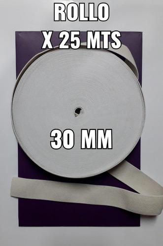 Elástico Algodón De 30mm Blanco  Por 25 Mts