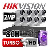 Kit Seguridad Hikvision Full Hd Dvr 8 + Disco 1 Tb Instalado + 8 Camaras 2mp 1080p Exterior Infrarrojas + Ip M3k