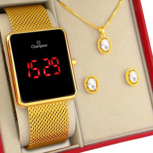 Relógio Champion Feminino Digital Dourado Original Garantia