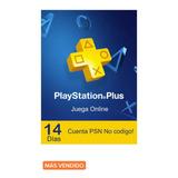Playstation Plus 14 Dias ¡entrega Inmediata!
