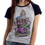 Blusa Baby Look Camiseta Alice E Gato Pais Das Maravilhas Original