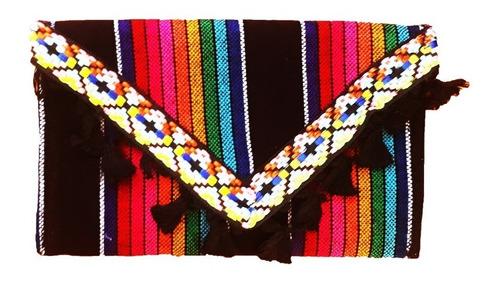 Bolsa Clutch Artesanal Huichol Rebozo Mexicana Clutch
