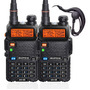 Kit 2 Rádio Comunicador Ht Dual Band Airsoft Uv-5r Fm Fone Original