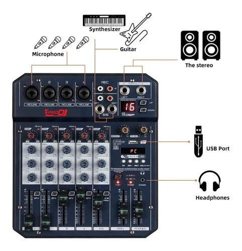 Mixer Consola Pro Dj T6 Interfaz Grabacion Prodj T6 Usb