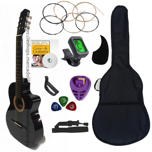 Guitarra Acústica Curva Ocelotl Paquete Vital De Accesorios