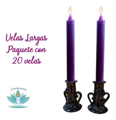 Velas Largas De Parafina (paquete Con 20) Color A Elegir
