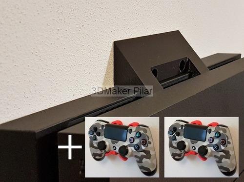 Combo Soporte Pared Ps4 Fat Slim Pro + 2 Sop Joystick Con Tornillos Y Tarugos - Mandos Playstation - Excelente Calidad!