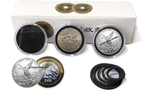 20 Capsulas Para Monedas Arillo Negro Modelo A Escoger
