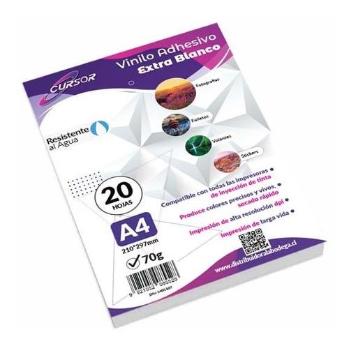 Vinilo Adhesivo Extra Blanco Imprimible Cursor A4 20hojas