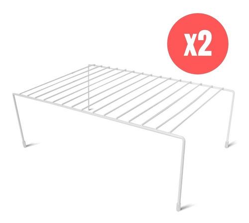 Organizador Estante Alacena Blanco X2 Reforzado Cocina 45cm