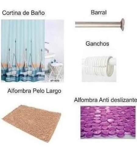 Combo Cortina De Baño+ Barral+ Ganchos + Alfombra + Alfombr