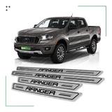 Kit 4 Cubre Zócalos Protector Ford Ranger Cd Doble Xl Xls Xlt Estribos Molduras Acero Inoxidable Juego De Accesorios X4