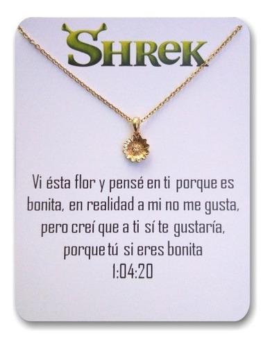 Collar De Girasol Flor Shrek Regalo Parejas Acero Baño Oro