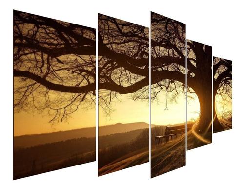 Kit Quadros Decorativos Sala Árvore Da Vida Entardecer Sol