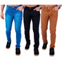 Kit C/ 3 Calça Jeans Sarja Masculina Skinny Lycra Colorida Original