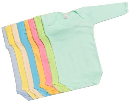 Pack 6 Pañaleros Manga Larga Liso Colores Para Bebé 3m A 24m