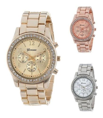 Reloj Relojes Metalico Metal Con Piedra Tipo Diamante Dorado