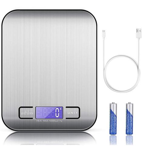 Balanza Digital Recargable Por Usb Para Cocina 10kg/1g