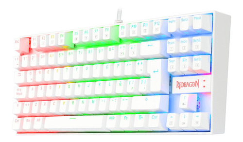 Teclado Gamer Mecanico Redragon Kumara White Rgb Switch Blue