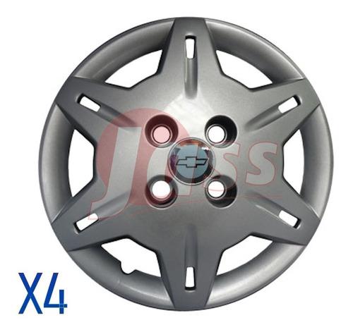 Juego X 4 Tazas Rodado 13 Chevrolet Corsa Gris Pulgada Auto