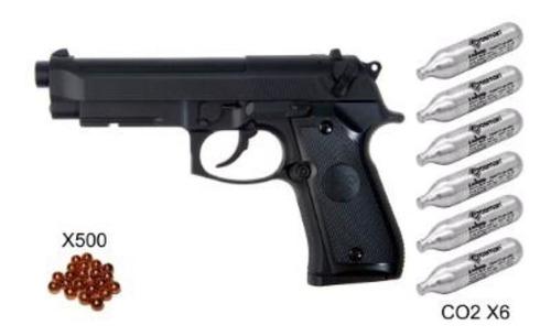 Pistola P92 Potenciada 500 Balines + 6 Co2