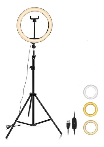Aro De 30cm Luz Led Celular Foto Video Maquillaje 160 Tripie