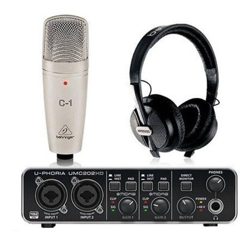 Umc202hd +mic+audífonos Behringer U-phoria Studio Pro 202hd