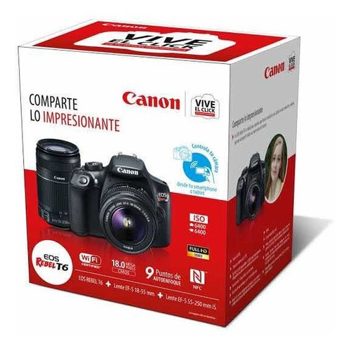 Cámara Profesional Canon Rebel T6