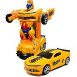 Carrinho Camaro Transformers Vira Robô Luz Som Bate Volta F