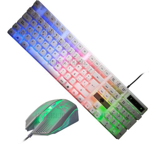 Combo Teclado Iluminado Diseño Gamer + Mouse Optico Usb