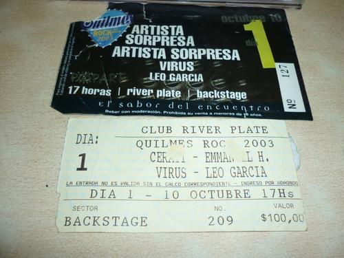 Autógrafo Gustavo Cerati + Entrada Quilmes Rock 2003+ Cd