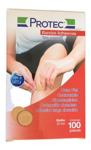 Protec Bandas Adhesivas Redondas Tela Elastica 100 Pza