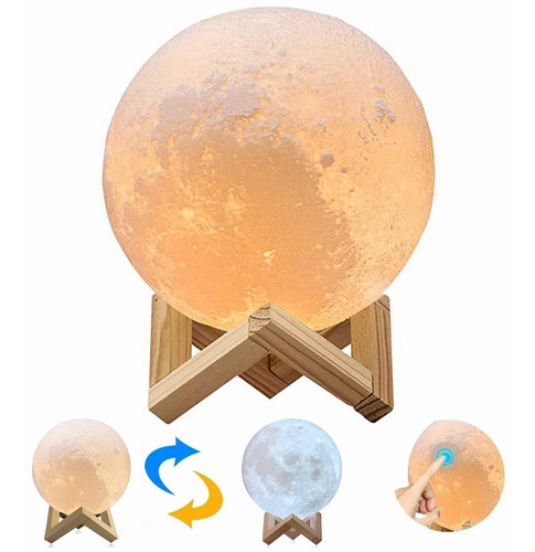 Lámpara Luna Impresión 3d Control Táctil De Brillo