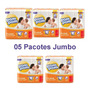 Oferta Kit C/5 Pacotes Fraldas Pompom P M G Xg Jumbo Protek Original