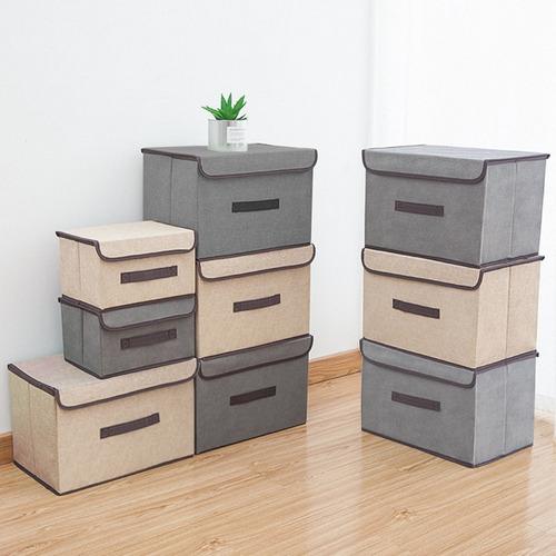 Caja De Almacenamiento Con Tapa Plegable De Tela De Lino, 2