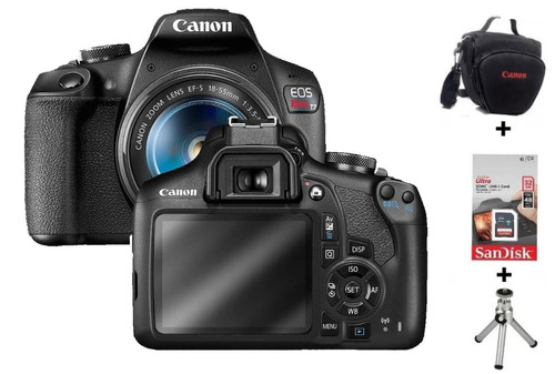 Câmera Canon Eos Rebel T7 C/ 18-55mm Is Stm + 32gb + Bolsa + Tripé