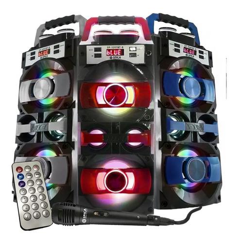 Parlante Bluetooth Portatil Spica Microfono Karaoke Luz Fm