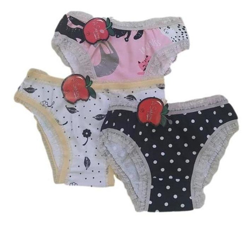 Kit 5 Pecas Calcinhas Infantil Meninas Algodão Luxo Conforto