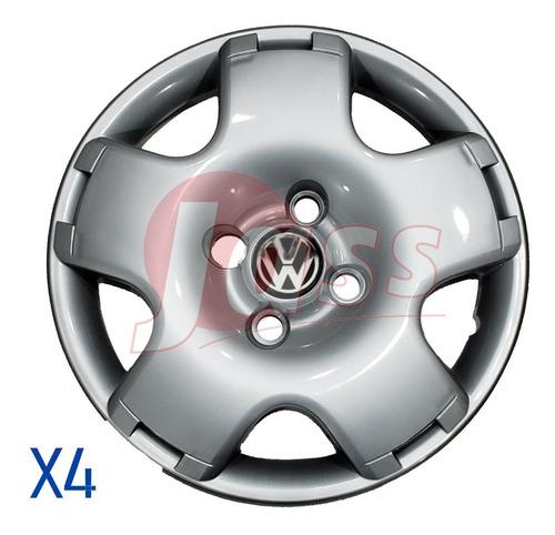 Juego 4 Tazas Vw Gol Power Saveiro Rodado 13 Plata Con Logo