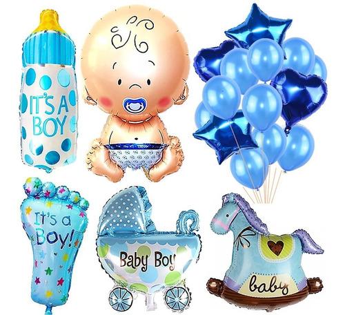 10 Globo Azul Babyshower Cotillon Nacimiento Candybar Bebe