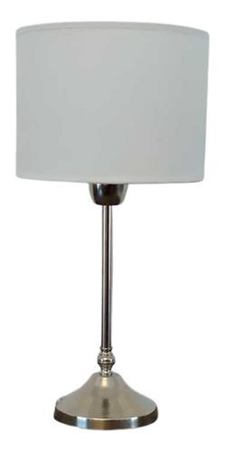 Velador Moderno Cromado Lámpara Con Pantalla Dormitorio Mesa