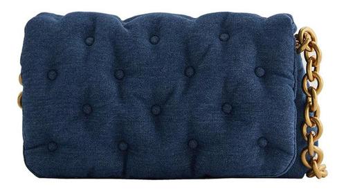 Moda De Mezclilla De Gran Tamaño Azul Bolsa De Un Hombro