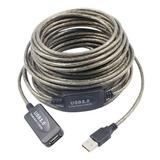 Cable Extension Usb Activo 15 Metros Blindado Sin Perdida