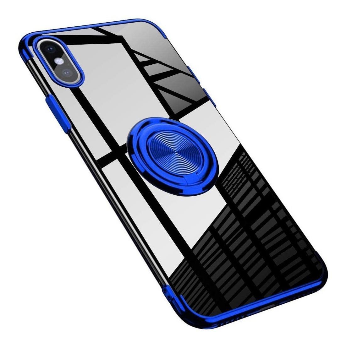 FUNDA CLEAR ANILLO IPHONE XS MAX AZUL