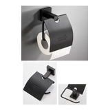 Portaconfort /papel Higiénico Aluminio Color Negro Mate