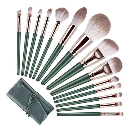Pinceles Y Juego De Brochas De Maquillaje Verde 14 Piezas