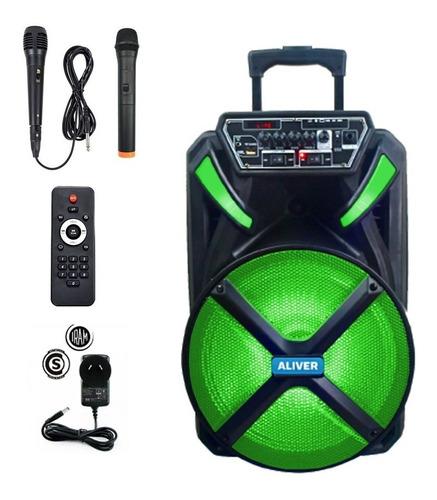 Parlante Portatil Bluetooth 12 Pulgadas Radio + 2 Micrófonos