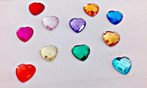 200 Corazones Falso Strass Gema Brillo Colores Surtidos 10mm