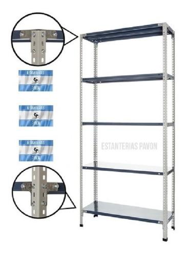 Estantería Metálica 45k 30x90x200m 5 Estantes Con Refuerzo Sigma Parantes, Estantes Pintados En Epoxi En Polvo Horneados