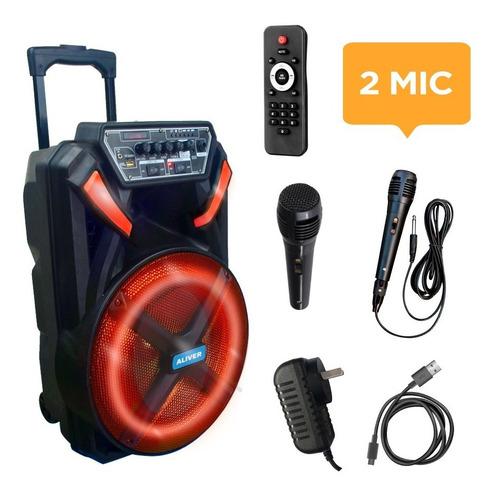 Parlante Portátil Bluetooth 12 Control Luces Led Fm + 2 Mic